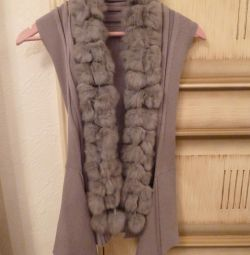 Gray female vest with artificial fur