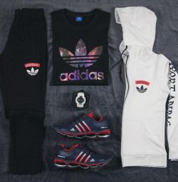 Costum de trei piese Adidas negru / alb