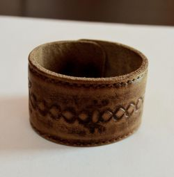 Wide bracelet made of genuine leather