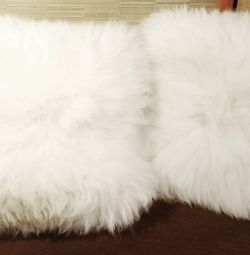Huge sofa cushions, sheepskin