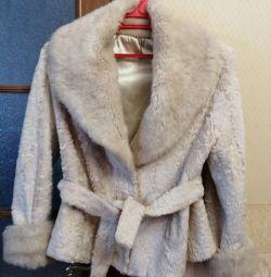 Astrakhan kürk altına yapay kısa kürk manto
