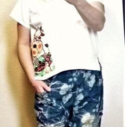 Stylish boho 7/8 jeans with a 48-52 print
