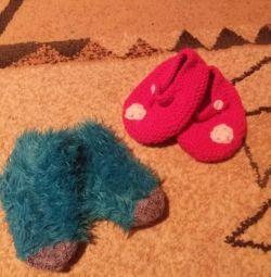 Теплые вязанные носочки