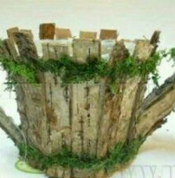 Кашпо з натурального дерева 26 * 15 * 24 см