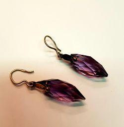 Soviet earrings with Amethyst. Silver 875 standard