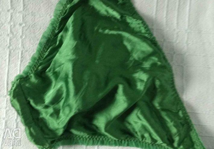 Panties green natural silk, marks and
