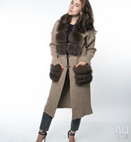 Cardigan with natural arctic fox fur