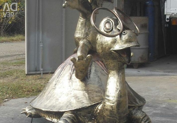 Lion and turtle-metal composition