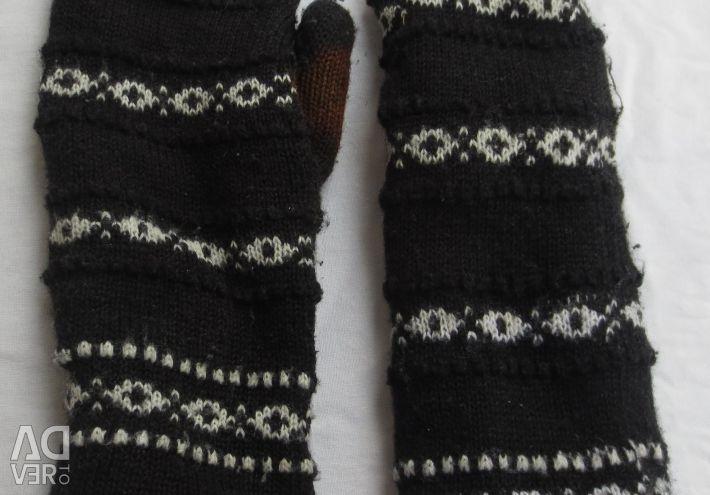 Mittens woolen leather gloves