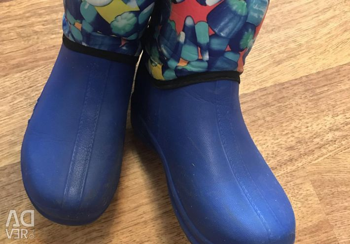 Rubber boots warmed