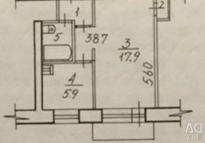 Daire, 1 oda, 30,2 m²