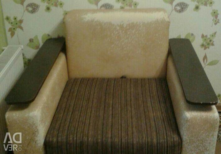Диван с креслом под перетяжку