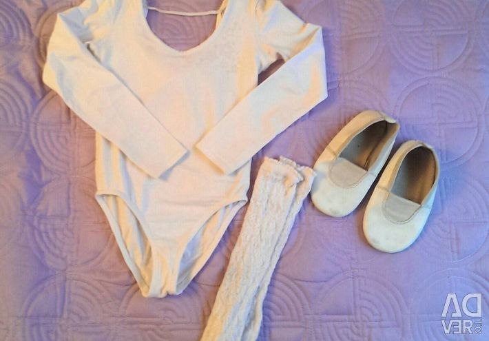 💃Gymnastic white swimsuit 104r, socks, Czech