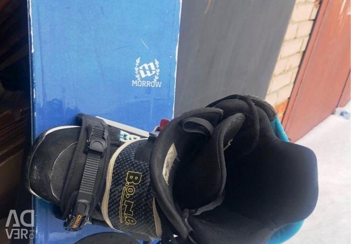 Snowboard + mount + 2 ζευγάρια παπουτσιών