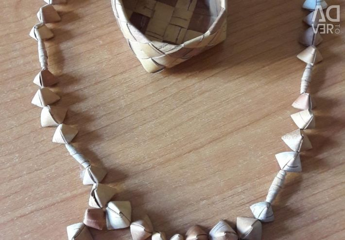 Beads of seashell, birch bark, vintage, necklace