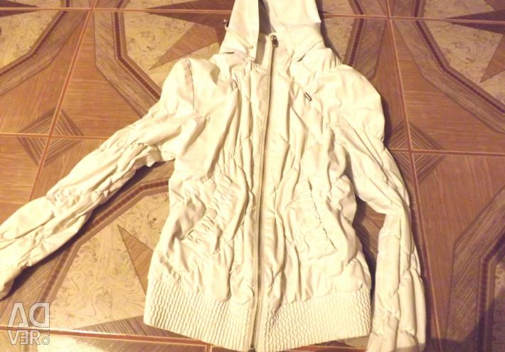 White jacket for the girl from a leather substitute