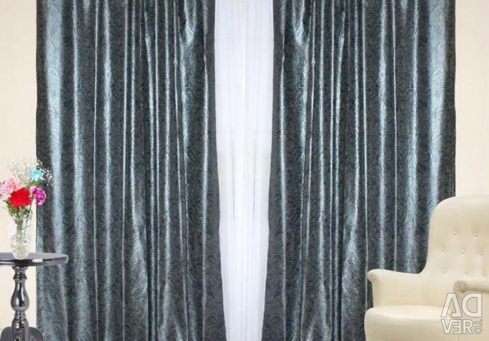 Set of curtains Indira black, silver