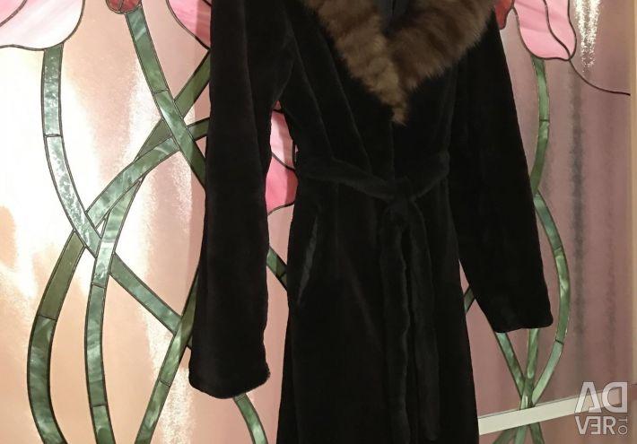 Ideal ile Vizon kürk ceket Sable Diz