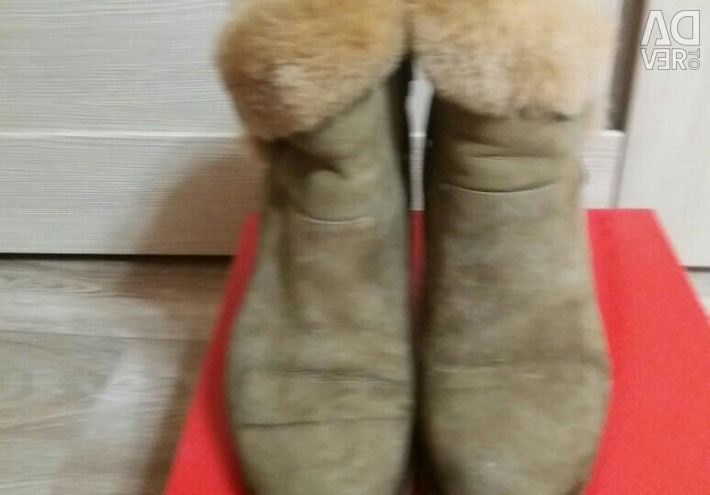 Winter boots on a wedge