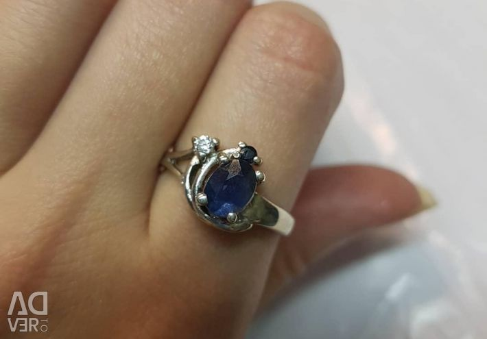 Ring with sapphires. Silver 925