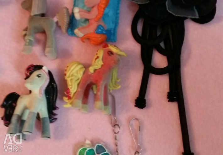 Toys, key chains, brooch
