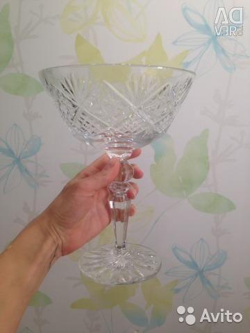Crystal vase for fruit on the high leg of the USSR