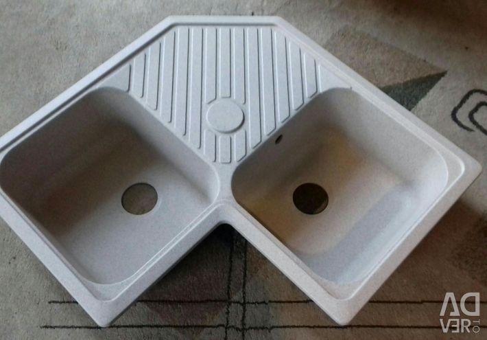 Granite-quartz sink wash basin