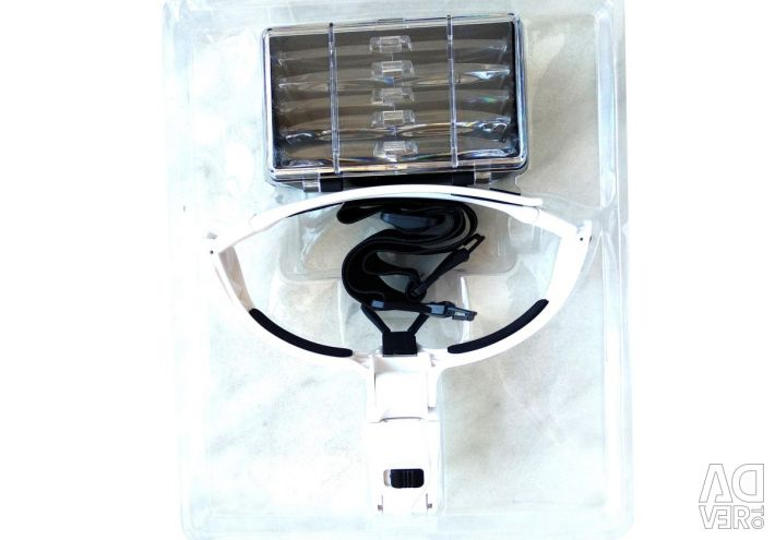 Glasses magnifier NO.9892BP + 5 nozzles + lights Led