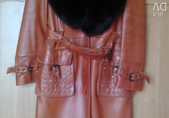 Leather coat without fur