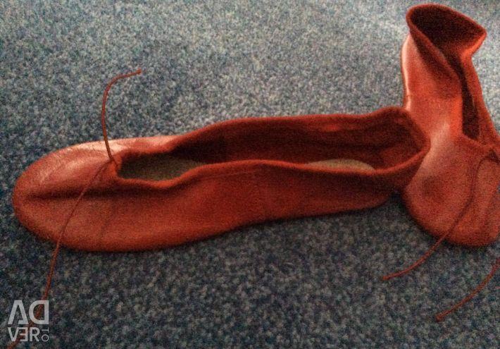 Παπούτσια (παπούτσια μπαλέτου) για χορό δέρμα Chacott κόκκινο