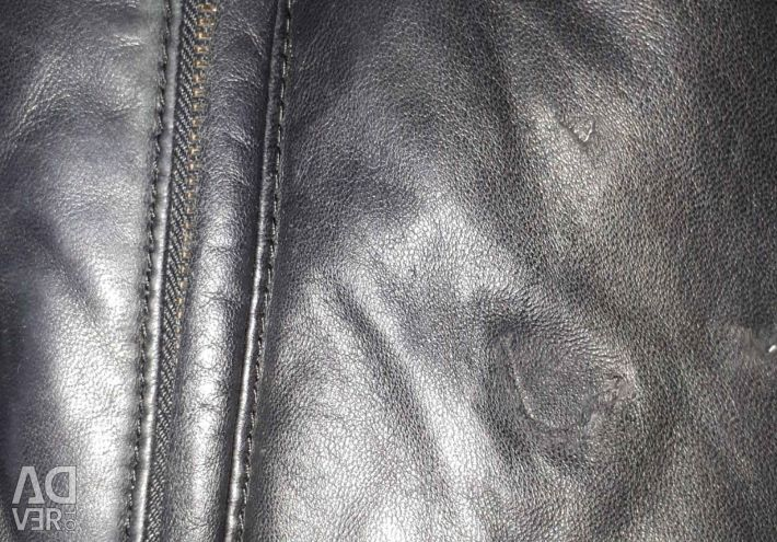 Leather down jacket