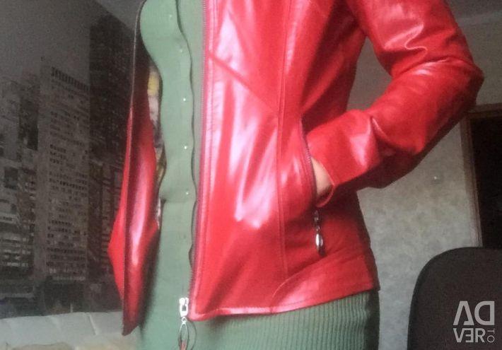 Κόκκινο δερμάτινο μπουφάν
