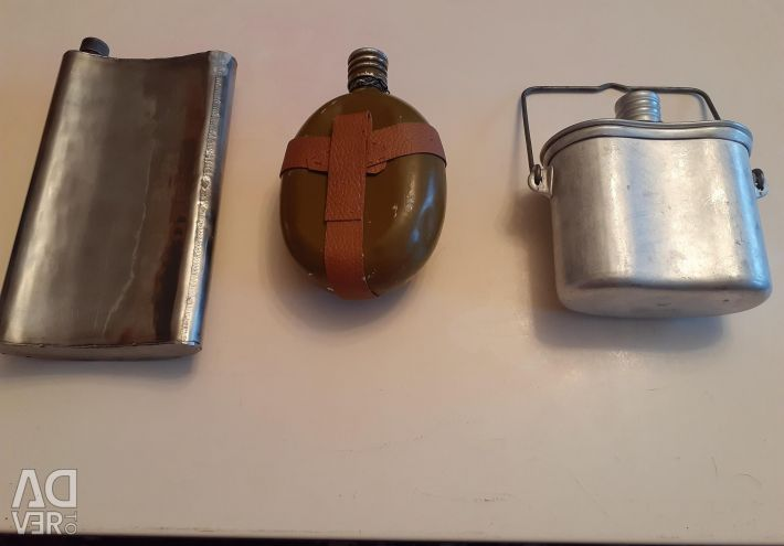 USSR Army flasks, stainless steel, aluminum