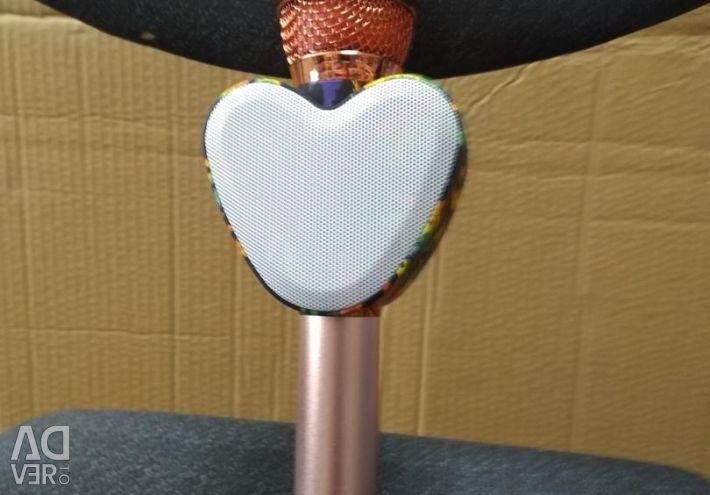 Glowing Karaoke Microphone in the shape of a heart