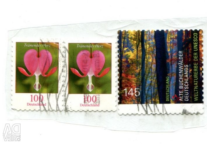 Postage stamps of different countries in the range