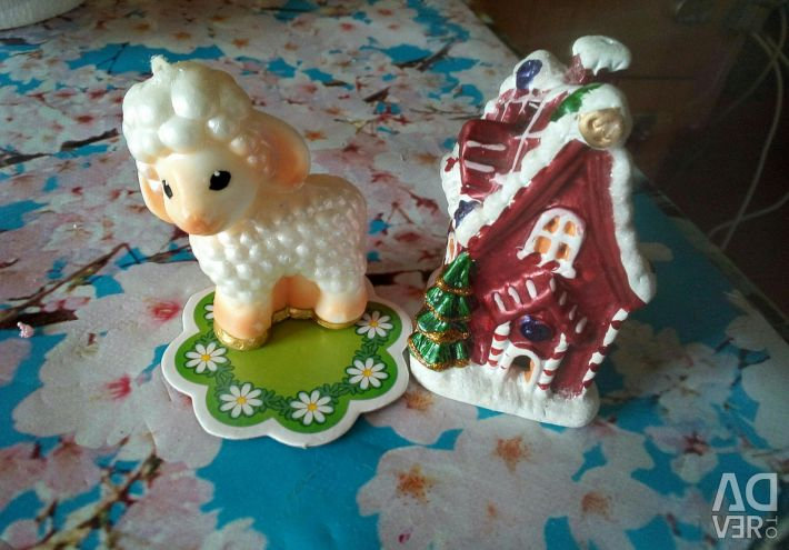 Candle, house, figurines