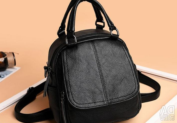 Bag - women's backpack, eco-leather, black, new