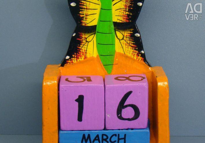 Calendar Butterfly. 10 cm, wood
