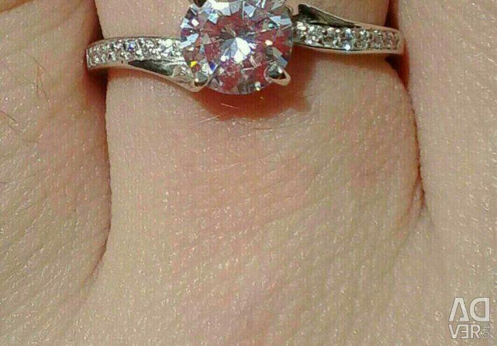 Νέο ασημένιο σετ: δαχτυλίδι + σκουλαρίκια + κρεμαστό κόσμημα.