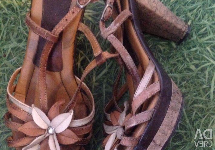 Cork Leather Heeled Sandals