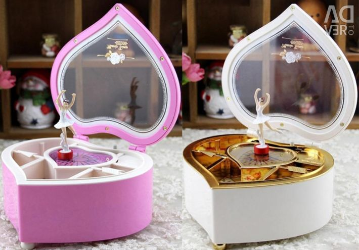 Music box with a ballerina in the form of a heart