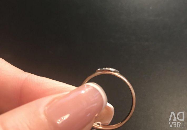 Handmade with a diamond. 585 gold