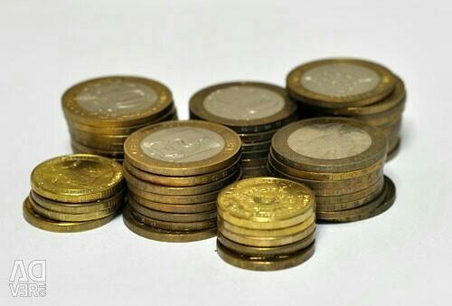 Coins 1,2,5,10rub. Memory anniversary
