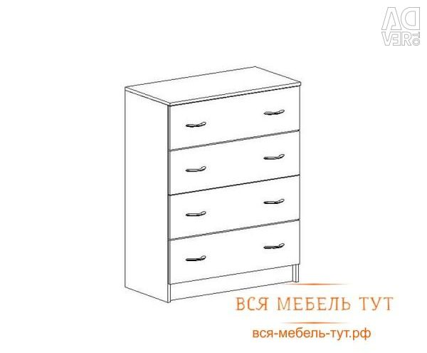 Basia Chest of 4 drawers for chipboard (wenge / oak white) KM 554