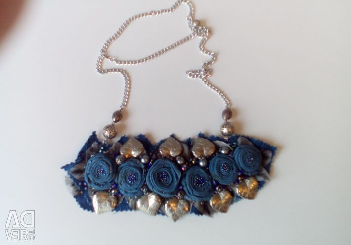Necklace of jeans. Handmade.