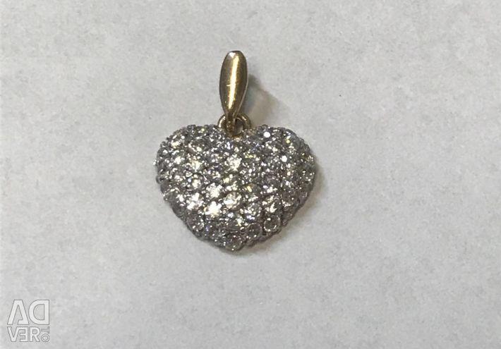 Kübik zirkon kalp ile altın kolye