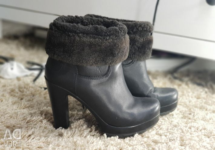 Leather ankle boots winter
