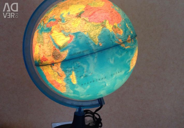 Illuminated physical and political globe