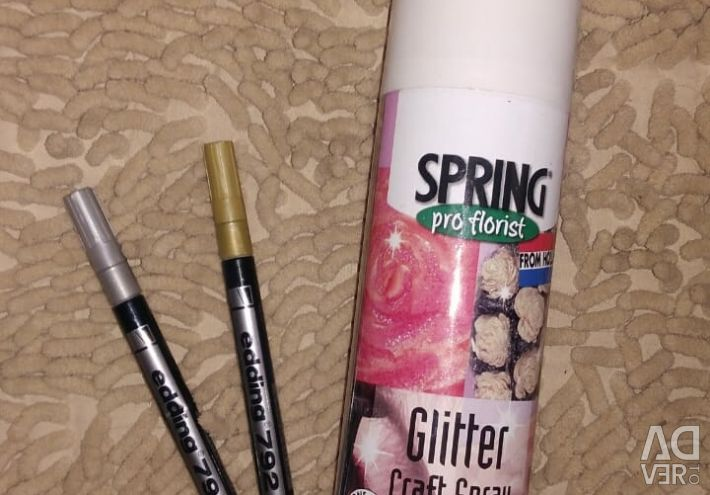 Spray paint and decorative markers for flowers