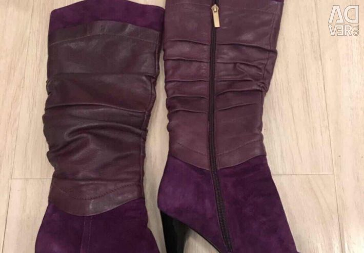 Boots nat. suede / leather 38 Italy purple cool